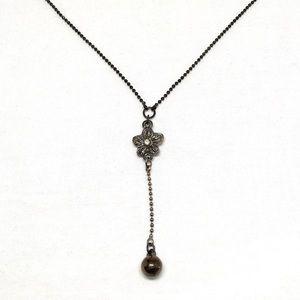 Jewelry - Vintage Black Flower & Bead Necklace